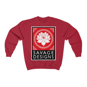 Savage Designs Lotus Flower Red/White/Black Sweatshirt- 4 Colors
