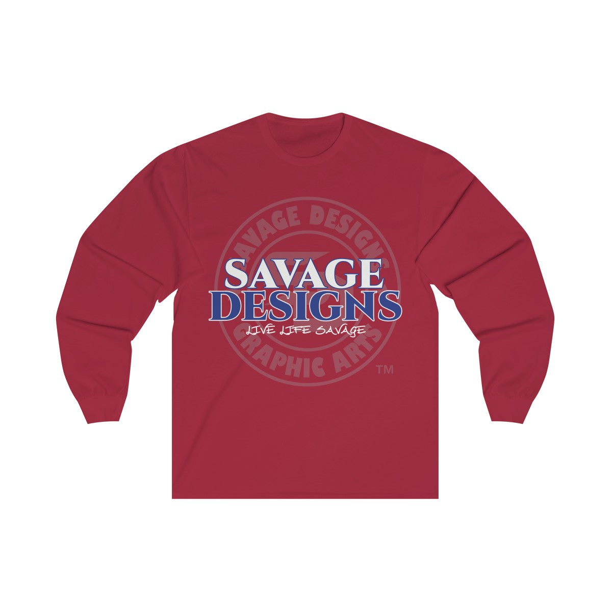 Savage Designs Faded Symbol White/Royal Blue/Grey Long Sleeve- 3 Colors