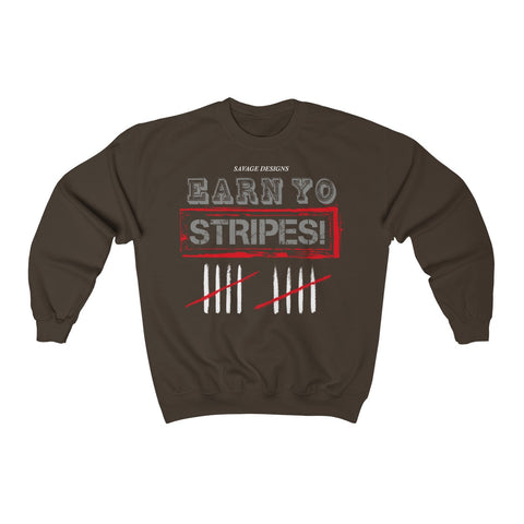 Savage Designs EARN YO STRIPES Grey/Red/White Sweatshirt- 2 Colors