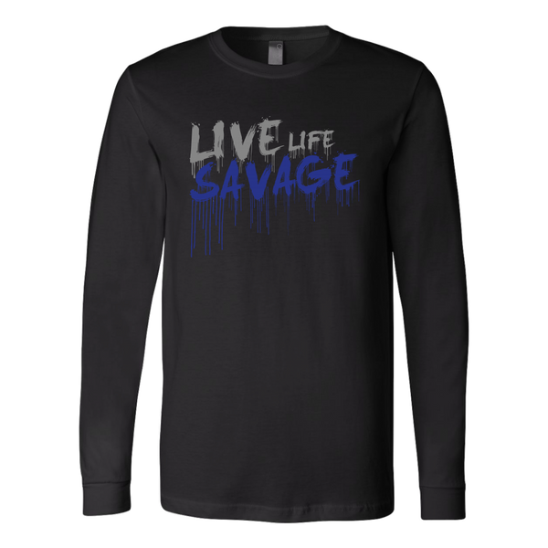 Live Life Savage Paint Drip Grey/Royal Blue Long Sleeve- 5 Colors