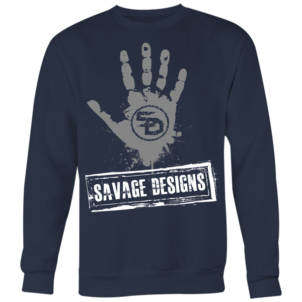 Savage Designs Handprint Stamp Grey/White Sweatshirt- 7 Colors