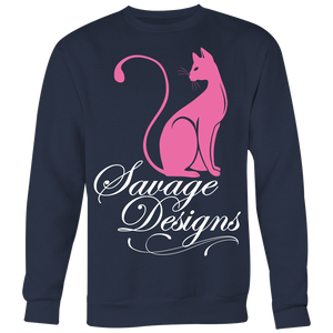 Savage Designs Lady Kitten Pink/White Sweatshirt- 4 Colors