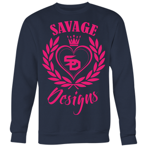 Savage Designs Heart of Hearts Hot Pink Sweatshirt- 7 Colors