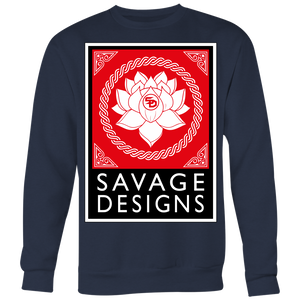 Savage Designs Lotus Flower Red/White/Black Sweatshirt- 7 Colors