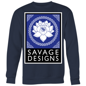 Savage Designs Lotus Flower Royal Blue/White/Black Sweatshirt- 7 Colors