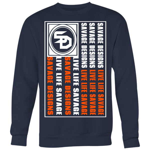 Savage Designs Flag White/Orange Sweatshirt- 7 Colors