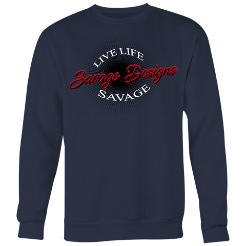 Savage Designs Sunray Flare Black and Red Sweatshirt- 5 Colors