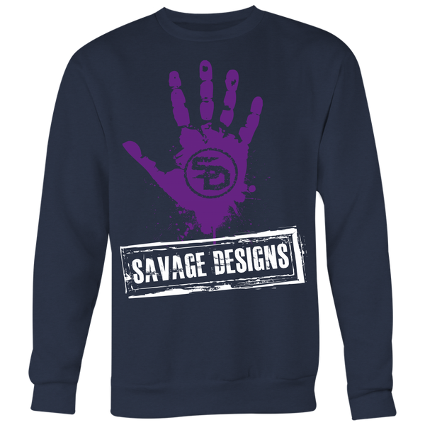 Savage Designs Handprint Stamp Purple/White Sweatshirt- 4 Colors
