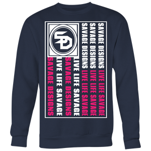 Savage Designs Flag White/Hot Pink Sweatshirt- 6 Colors