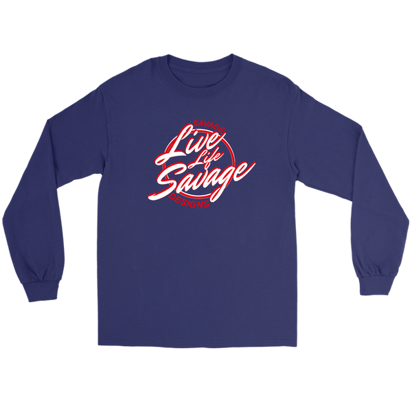 Savage Designs Live Life Savage Calligraphy White/Red Long Sleeve- 8 Colors