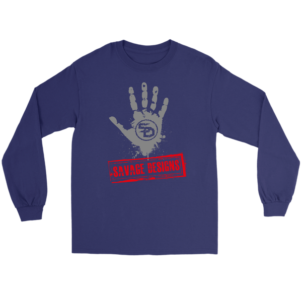 Savage Designs Handprint Stamp Grey/Red Long Sleeve- 8 Colors