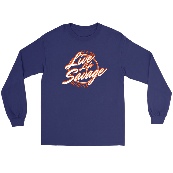 Savage Designs Live Life Savage Calligraphy White/Orange Long Sleeve- 9 Colors
