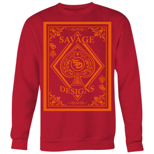 Savage Designs Ace of Spade Orange Sweatshirt- 9 Colors