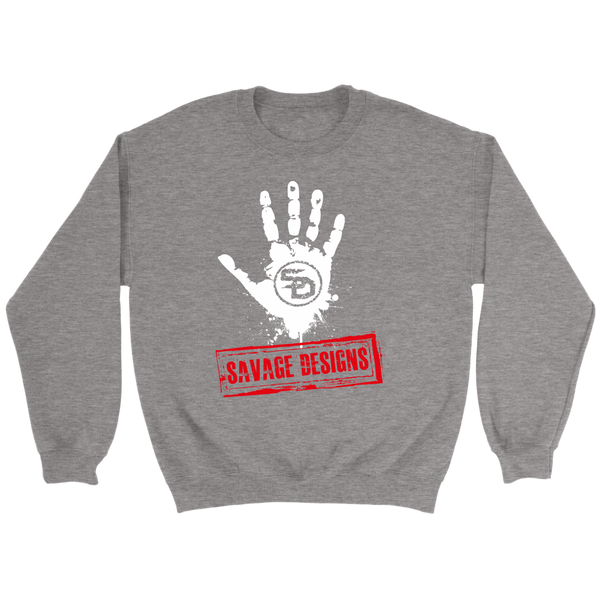 Savage Designs Handprint Stamp White/Red Sweatshirt- 6 Colors