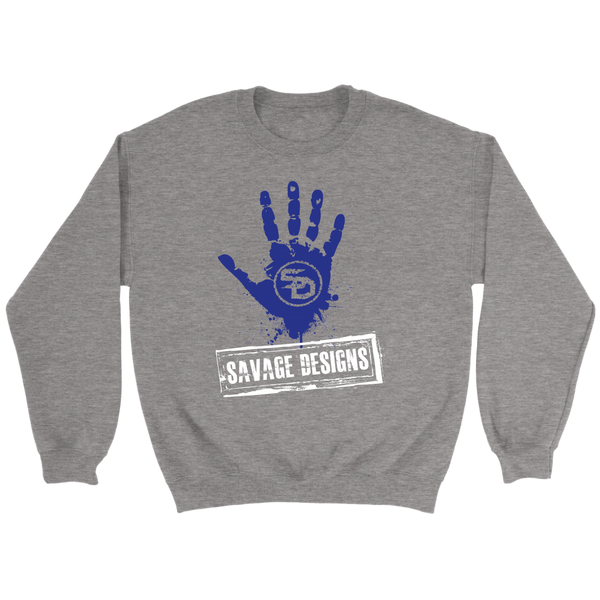 Savage Designs Handprint Stamp Royal Blue/White Sweatshirt- 5 Colors