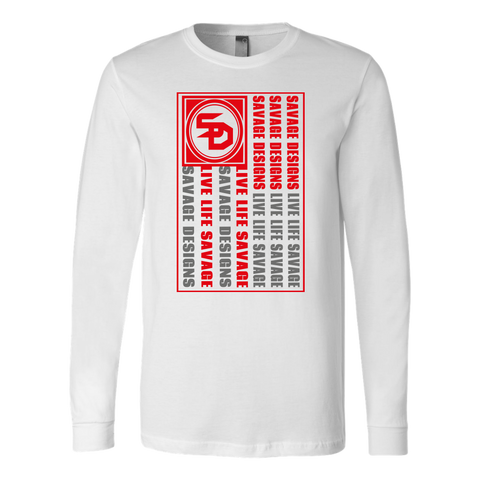 Savage Designs Flag Red/Grey Long Sleeve- 6 Colors