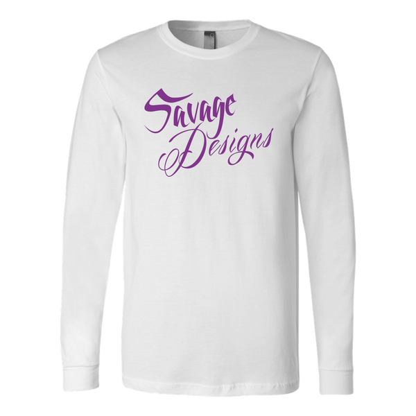 Savage Designs Cursive Script Purple Long Sleeve- 7 Colors