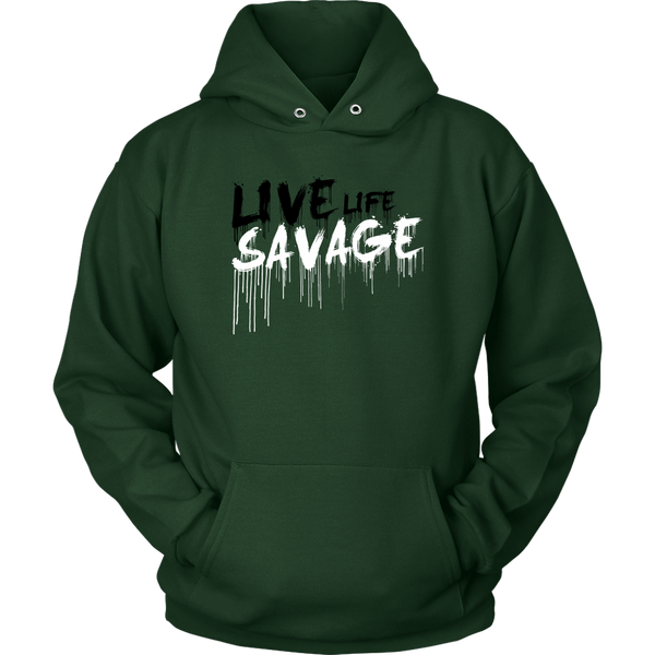 Live Life Savage Paint Drip Black/White Hoodie- 11 Colors