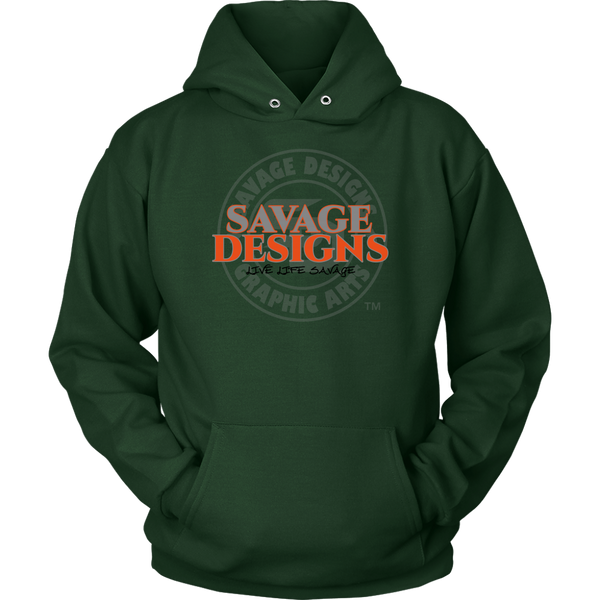 Savage Designs Faded Symbol Grey/Orange/Black Hoodie- 7 Colors