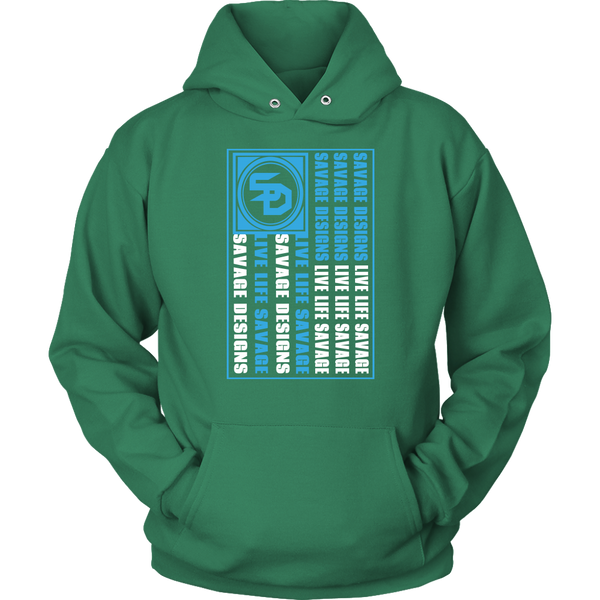 Savage Designs Flag Turquoise/White Hoodie- 8 Colors