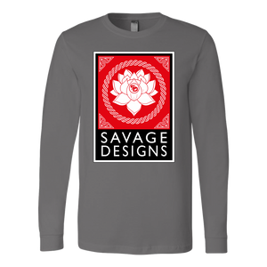 Savage Designs Lotus Flower Red/White/Black Long Sleeve- 9 Colors