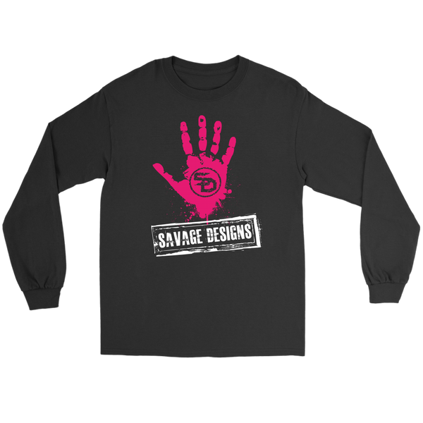 Savage Designs Handprint Stamp Hot Pink/White Long Sleeve- 9 Colors