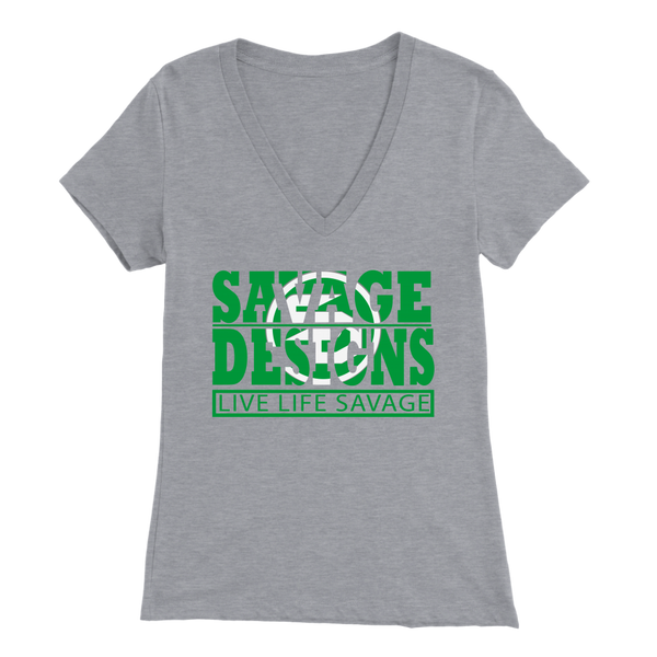 The Savage Within Green/White V-Neck- 10 Colors