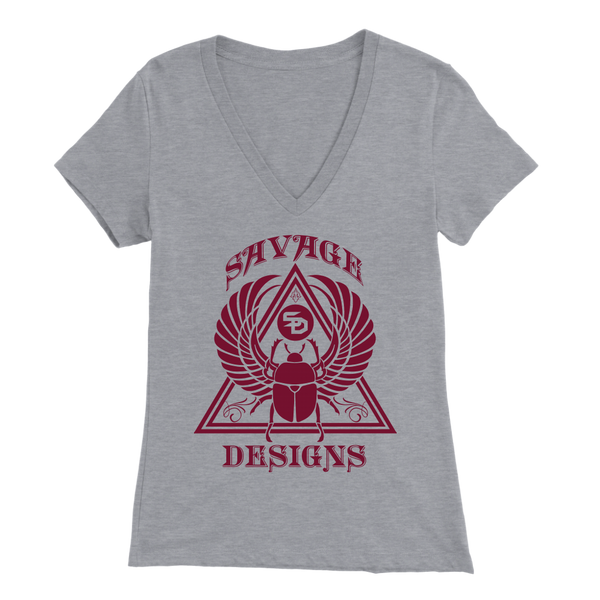 Savage Designs Eygptian Scarab Bettle Maroon V-Neck- 6 Colors