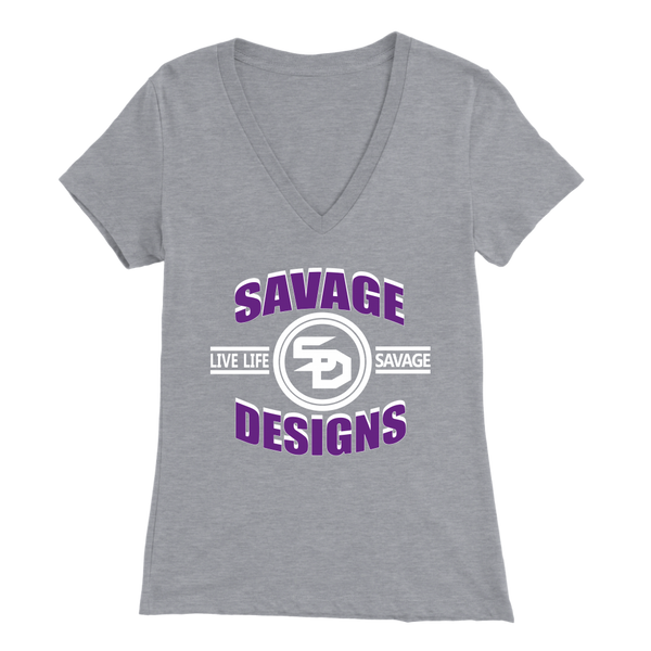 Savage Designs Dead Focus Purple/White V-Neck- 12 Colors