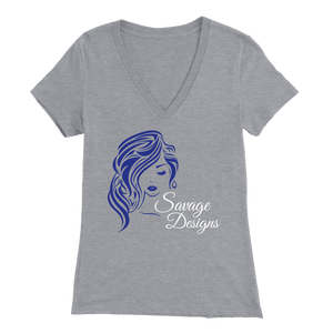 Savage Designs Women's Beauty Royal Blue/White V-Neck- 7 Colors