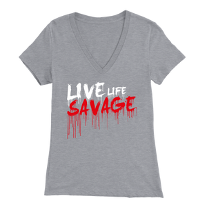 Live Life Savage Paint Drip White/Red V-Neck- 11 Colors