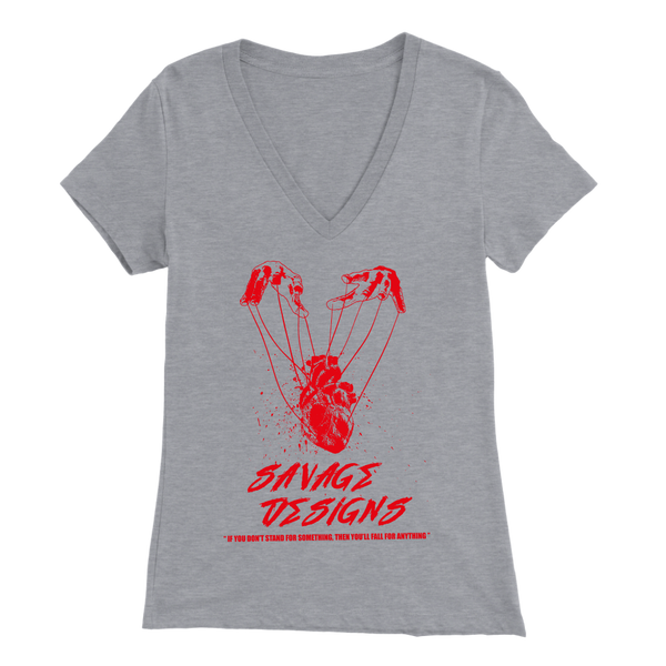 Savage Designs Heart Strings Red V-Neck- 7 Colors