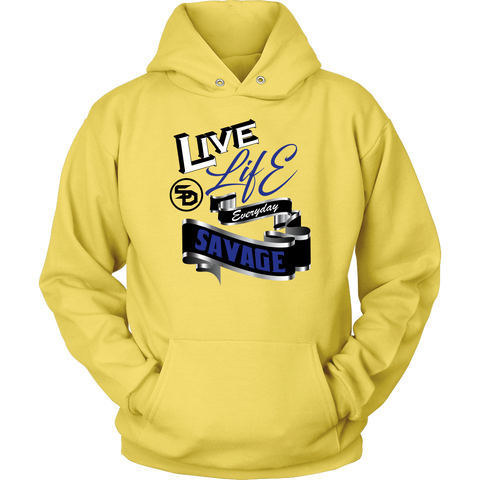 Live Life Everyday Savage White/Black/Royal Blue/Silver Hoodie- 2 Colors