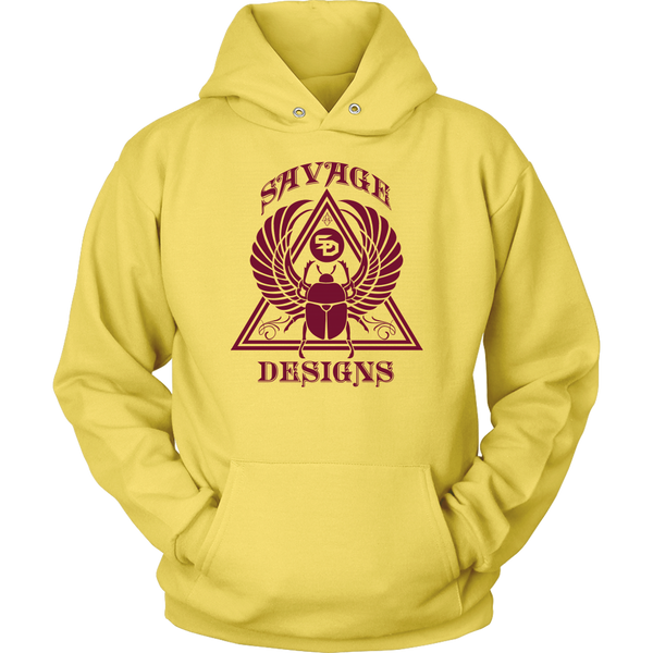 Savage Designs Eygptian Scarab Bettle Maroon Hoodie- 5 Colors