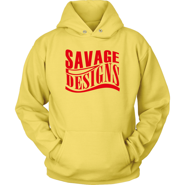 Savage Designs Warped Curve Red Hoodie- 9 Colors