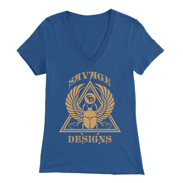 Savage Designs Eygptian Scarab Bettle Tan V-Neck- 9 Colors