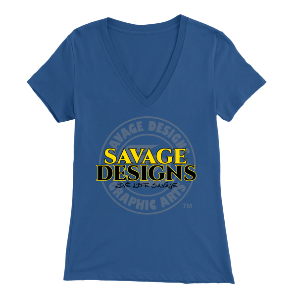 Savage Designs Faded Symbol Yellow/Black/Grey V-Neck- 9 Colors
