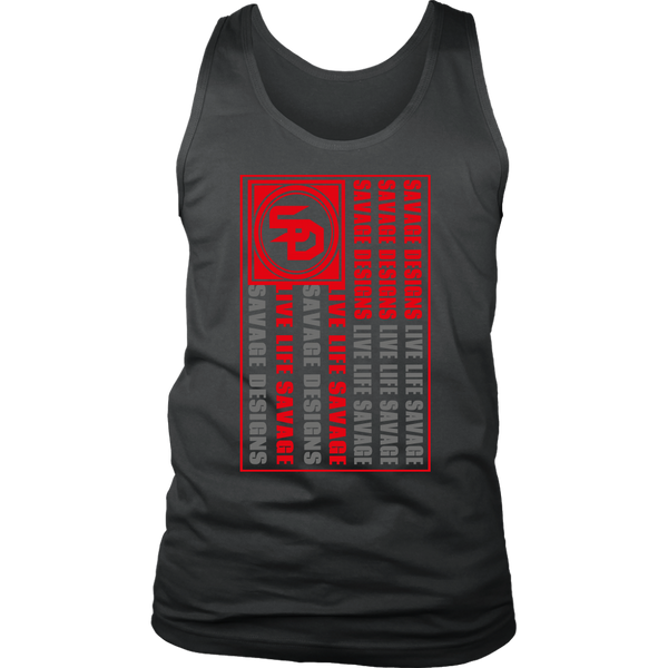 Savage Designs Flag Red/Grey Tank Top- 8 Colors