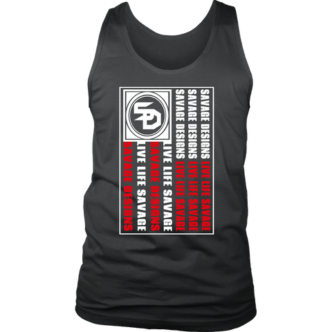 Savage Designs Flag White/Red Tank Top- 8 Colors