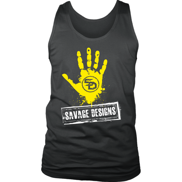 Savage Designs Handprint Stamp Yellow/White Tank Top- 11 Colors