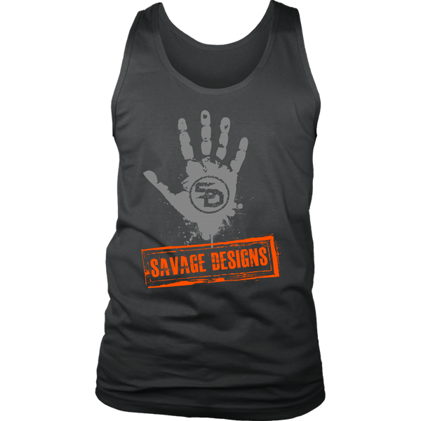 Savage Designs Handprint Stamp Grey/Orange Tank Top- 9 Colors
