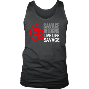 Savage Designs Sliced Up Red/Grey/White Tank Top- 8 Colors