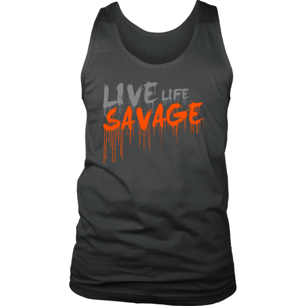 Live Life Savage Paint Drip Grey/Orange Tank Top- 9 Colors