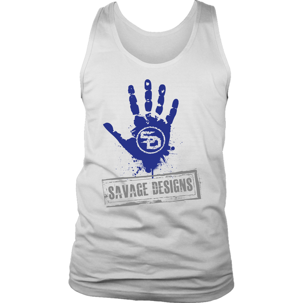 Savage Designs Handprint Stamp Royal Blue/Grey Tank Top- 5 Colors