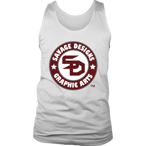 Savage Desihns Symbol Patch Burgundy/White/Grey Tank Top- 4 Colors