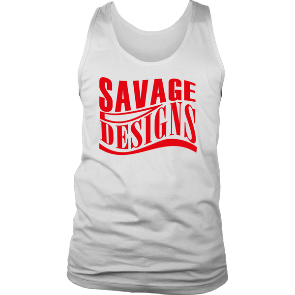 Savage Designs Warped Curve Red Tank Top- 10 Colors