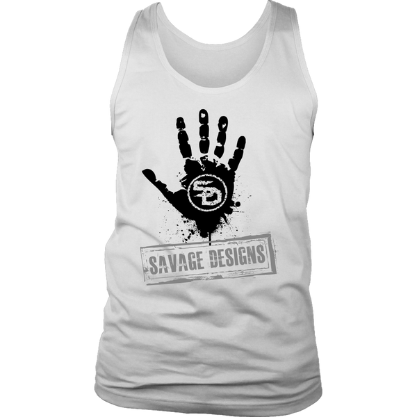 Savage Designs Handprint Stamp Black/Grey Tank Tops- 8 Colors