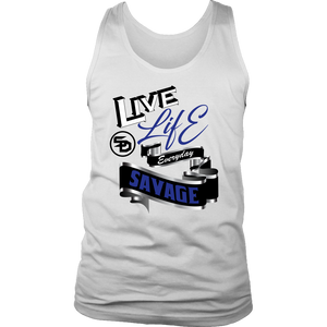 Live Life Everyday Savage White/Black/Royal Blue/Silver Tank Top- 3 Colors