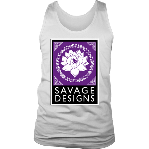 Savage Designs Lotus Flower Purple/White/Black Tank Top- 9 Colors