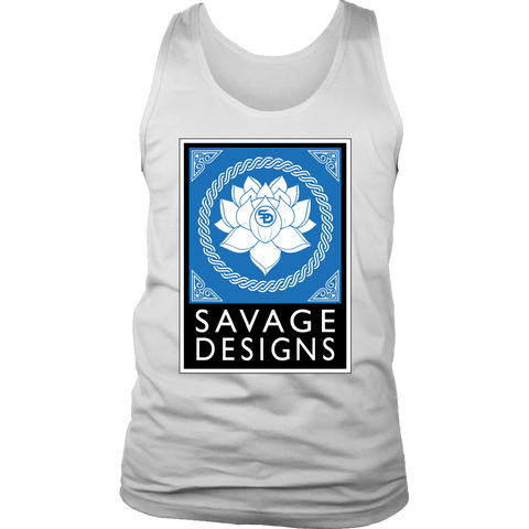 Savage Designs Lotus Flower Turquoise/White/Black Tank Top- 8 Colors